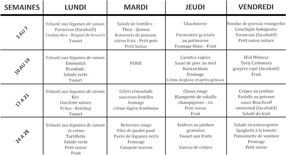 menu cantine Bueil-en-Touraine novembre